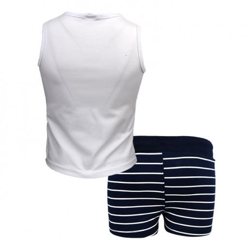"""Σετ κοντομάνικη μπλούζα λευκή με σορτσάκι ριγέ μπλε """"Τσάντα"""" πίσω μέρος"""