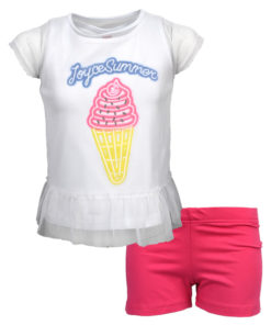 """Σετ κοντομάνικη μπλούζα λευκή με σορτσάκι φούξια """"JoyceSummer"""""""
