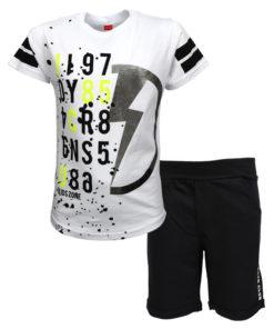 """Σετ κοντομάνικη μπλούζα λευκή με φόρμα βερμούδα μαύρη """"J197"""""""