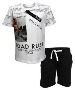 """Σετ κοντομάνικη μπλούζα λευκή με φόρμα βερμούδα μαύρη """"Road Rush"""""""