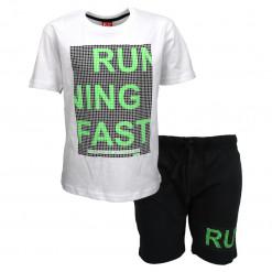 """Σετ κοντομάνικη μπλούζα λευκή με φόρμα βερμούδα μαύρη """"Running Fast"""""""