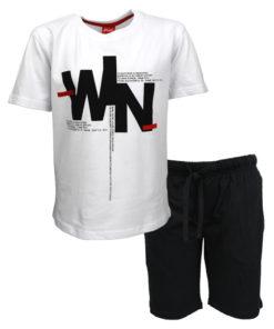 """Σετ κοντομάνικη μπλούζα λευκή με φόρμα βερμούδα μαύρη """"Win"""""""