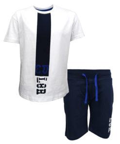 """Σετ κοντομάνικη μπλούζα λευκή με φόρμα βερμούδα μπλε """"L8R"""""""