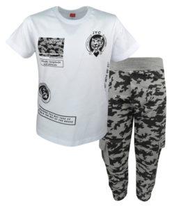 """Σετ κοντομάνικη μπλούζα λευκή με φόρμα παντελόνι παραλλαγής γκρι """"Palms Spring"""""""