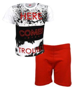 """Σετ κοντομάνικη μπλούζα λευκή με φόρμα σορτσάκι κόκκινο """"Here Comes"""""""