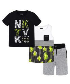 """Σετ κοντομάνικη μπλούζα μαύρη και αμάνικη μπλούζα λευκή με βερμούδα γκρι """"NKTV"""""""