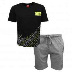 """Σετ κοντομάνικη μπλούζα μαύρη με βερμούδα γκρι """"Fnk Run"""""""