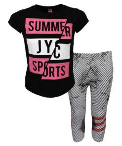 """Σετ κοντομάνικη μπλούζα μαύρη με κολάν κάπρι γκρι """"Summer JYC"""""""