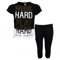 """Σετ κοντομάνικη μπλούζα μαύρη με κολάν μαύρο """"Work Hard"""""""