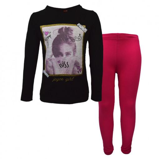 """Σετ κοντομάνικη μπλούζα μαύρη με κολάν φούξια """"Girl"""""""