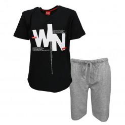 """Σετ κοντομάνικη μπλούζα μαύρη με φόρμα βερμούδα γκρι """"Win"""""""