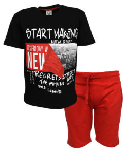 """Σετ κοντομάνικη μπλούζα μαύρη με φόρμα βερμούδα κόκκινη """"Start Making"""""""