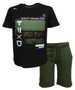 """Σετ κοντομάνικη μπλούζα μαύρη με φόρμα βερμούδα λαδί """"Night Crawlers"""""""