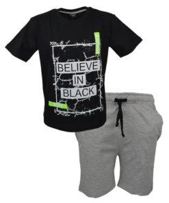 """Σετ κοντομάνικη μπλούζα με φόρμα βερμούδα """"Believe in Black"""""""