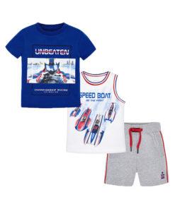"""Σετ κοντομάνικη μπλούζα μπλε και αμάνικη μπλούζα λευκή με σορτσάκι γκρι """"Unbeaten"""""""