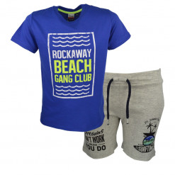 """Σετ κοντομάνικη μπλούζα μπλε και βερμούδα γκρι """"Rockaway Beach"""""""