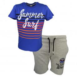 """Σετ κοντομάνικη μπλούζα μπλε και βερμούδα γκρι """"Summer Surf"""""""