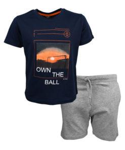 """Σετ κοντομάνικη μπλούζα μπλε με βερμούδα γκρι """"Own the Ball"""""""