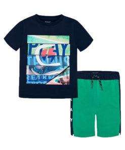 """Σετ κοντομάνικη μπλούζα μπλε με βερμούδα πράσινη """"Play Tennis"""""""