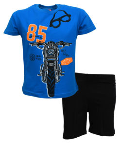 """Σετ κοντομάνικη μπλούζα μπλε με φόρμα βερμούδα μαύρη """"Μοτοσυκλέτα"""""""