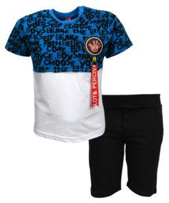 """Σετ κοντομάνικη μπλούζα μπλε με φόρμα βερμούδα μαύρη """"Χεράκι"""""""