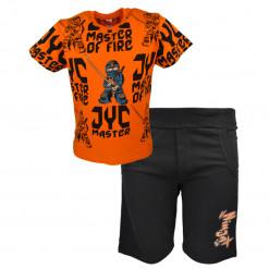 """Σετ κοντομάνικη μπλούζα πορτοκαλί με μαύρη φόρμα σορτσάκι """"Samurai"""""""