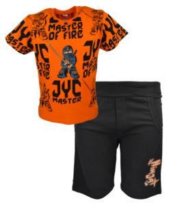 Σετ κοντομάνικη μπλούζα πορτοκαλί με μαύρη φόρμα σορτσάκι