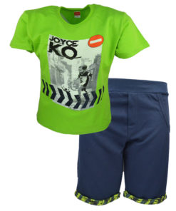 Σετ κοντομάνικη μπλούζα πράσινη με μπλε φόρμα σορτσάκι