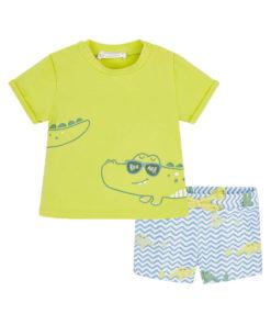 """Σετ κοντομάνικη μπλούζα πράσινη με σορτσάκι μαγιό γαλάζιο """"Κροκόδειλος"""""""