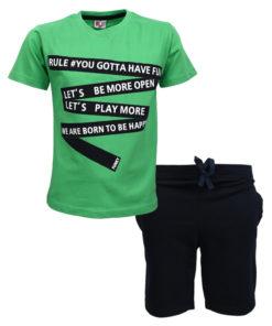 """Σετ κοντομάνικη μπλούζα πράσινη με φόρμα βερμούδα μαύρη """"Be More Open"""""""