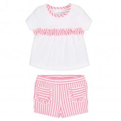 """Σετ κοντομάνικη μπλούζα ριγέ λευκή με σορτσάκι ροζ """"Τσέπες"""""""