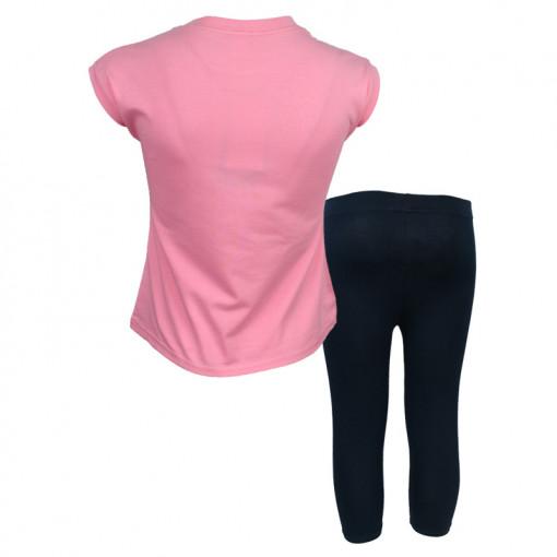 """Σετ κοντομάνικη μπλούζα ροζ με κολάν κάπρι μαύρο """"Κορίτσι σε Μηχανή"""" πίσω μέρος"""