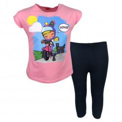 """Σετ κοντομάνικη μπλούζα ροζ με κολάν κάπρι μαύρο """"Κορίτσι σε Μηχανή"""""""