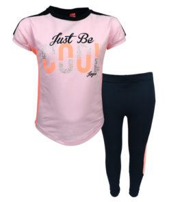 """Σετ κοντομάνικη μπλούζα ροζ με κολάν κάπρι μπλε """"Just be Cool"""""""