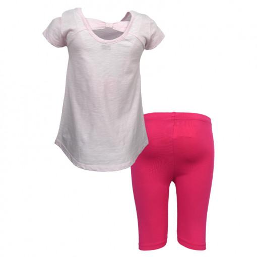 """Σετ κοντομάνικη μπλούζα ροζ με κολάν κάπρι φούξια """"Παπούτσια"""" πίσω μέρος"""