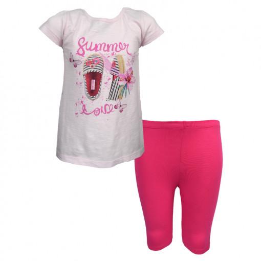 """Σετ κοντομάνικη μπλούζα ροζ με κολάν κάπρι φούξια """"Παπούτσια"""""""