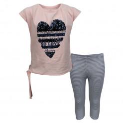"""Σετ κοντομάνικη μπλούζα ροζ με κολάν λευκό ριγέ """"My Love is Fashion"""""""