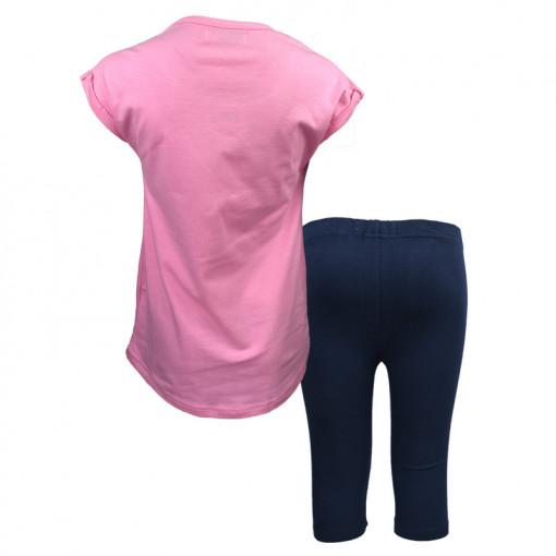 """Σετ κοντομάνικη μπλούζα ροζ με κολάν μπλε """"Cold Ice Tea"""" πίσω μέρος"""