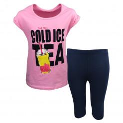 """Σετ κοντομάνικη μπλούζα ροζ με κολάν μπλε """"Cold Ice Tea"""""""
