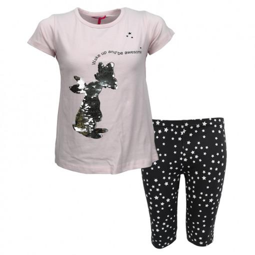 """Σετ κοντομάνικη μπλούζα ροζ με κολάν ποδηλατικό γκρι """"Λαγουδάκι"""""""