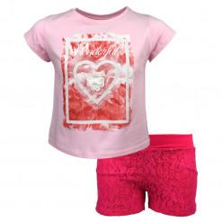 """Σετ κοντομάνικη μπλούζα ροζ με σορτσάκι φούξια """"Wonderful"""""""