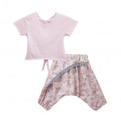 """Σετ κοντομάνικη μπλούζα ροζ με φόρμα βράκα ροζ """"Floral"""""""