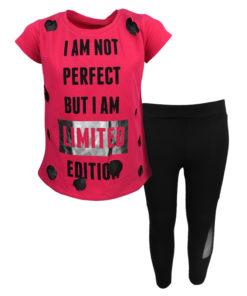 """Σετ κοντομάνικη μπλούζα φούξια με κολάν μαύρο """"I am not Perfect"""""""