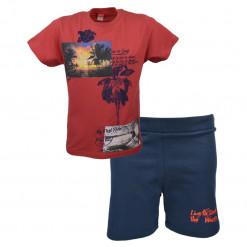 """Σετ κόκκινη κοντομάνικη μπλούζα με μπλε βερμούδα φόρμα """"Live To Surf"""""""