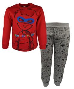 """Σετ κόκκινη μακρυμάνικη μπλούζα με γκρι φόρμα παντελόνι """"From Boy to Hero"""" με μάσκα"""