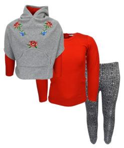 """Σετ κόκκινη μακρυμάνικη μπλούζα με γρκι κολάν και γκρι πόντσο """"Τριαντάφυλλα"""""""