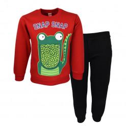"""Σετ κόκκινη μακρυμάνικη μπλούζα με μαύρη σκούρο φόρμα παντελόνι """"Crocodile"""""""