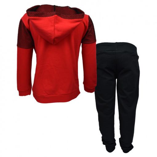 """Σετ κόκκινη μακρυμάνικη μπλούζα με μαύρη φόρμα παντελόνι """"Gym Smile Tank"""" πίσω μέρος"""