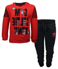 """Σετ κόκκινη μακρυμάνικη μπλούζα με μαύρη φόρμα παντελόνι """"Gym Smile Tank"""""""