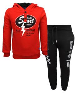 04db8a37d2f0 Σετ κόκκινη μακρυμάνικη μπλούζα με μαύρη φόρμα παντελόνι